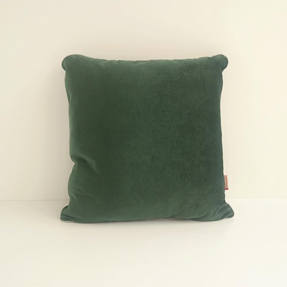 Poduszka dekoracyjna z velvet i wypustką ciemna zieleń