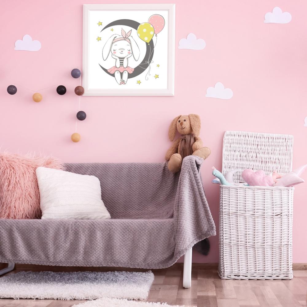 Obrazek do pokoju dziewczynki, króliczek z balonikami