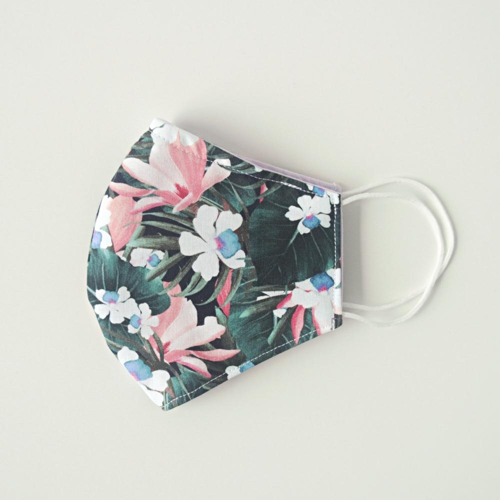 damska bawełniana maseczka w kwiaty na cienkie gumki